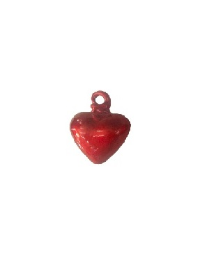 COLORED RIM GLASSWARE / Red Blown Glass Hanging Hearts Small (set of 6)